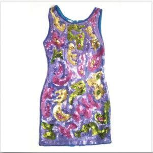 Fieri New York Rare Silk Sequin Mini Dress Small